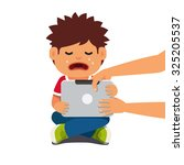 computer addicted child holding ... | Shutterstock .eps vector #325205537