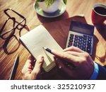 hands businessman working... | Shutterstock . vector #325210937