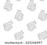 doodle cupcake pattern with...