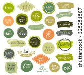 Organic Food Labels Set. Vecto...
