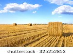 a field with straw bales after... | Shutterstock . vector #325252853