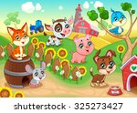 cute farm animals in the garden.... | Shutterstock .eps vector #325273427