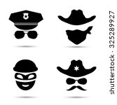 set of black vector icons... | Shutterstock .eps vector #325289927