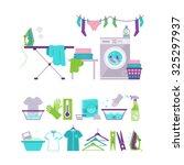 Set Of Laundry And Washing...