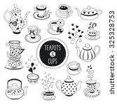hand drawn teapot and cup... | Shutterstock .eps vector #325328753