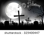 halloween background night with ... | Shutterstock . vector #325400447