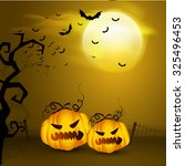 glossy scary pumpkins on... | Shutterstock .eps vector #325496453