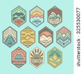 set of alpinist and mountain... | Shutterstock .eps vector #325530077