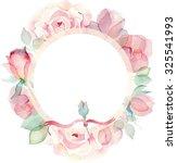 wreath of roses  watercolor ... | Shutterstock . vector #325541993