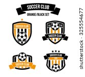 set of emblems orange black... | Shutterstock .eps vector #325554677