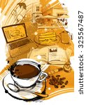 coffee city sketch | Shutterstock .eps vector #325567487