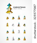 set of abstract christmas tree... | Shutterstock .eps vector #325577087