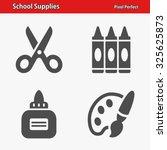 school supplies icons.... | Shutterstock .eps vector #325625873