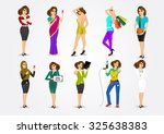 set of 10 professions  eps10... | Shutterstock .eps vector #325638383