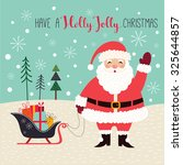 christmas card with santa a... | Shutterstock .eps vector #325644857