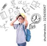 little schoolboy  with school ... | Shutterstock . vector #325650047