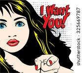 pop art woman   i want you ... | Shutterstock .eps vector #325669787