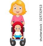 cartoon a mother pushing a baby ... | Shutterstock .eps vector #325732913