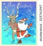 cute santa with deer skating | Shutterstock .eps vector #325761947
