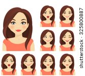 woman with different facial... | Shutterstock .eps vector #325800887