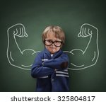 strong man child showing bicep... | Shutterstock . vector #325804817