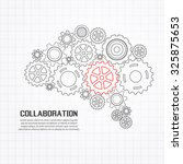 gears brain for cooperation or... | Shutterstock .eps vector #325875653