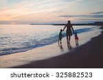 picture of man walking with boy ... | Shutterstock . vector #325882523