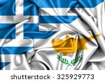 Waving Flag Of Cyprus And Greece