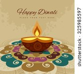 happy diwali beautiful rangoli... | Shutterstock .eps vector #325985597