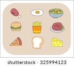 breakfast  junk food icons set. ... | Shutterstock .eps vector #325994123