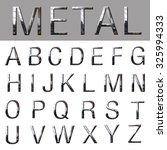 3d of metallic alphabet font | Shutterstock . vector #325994333