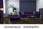 Interior With Purple Sofa. 3d...