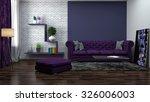 Interior With Purple Sofa. 3d...