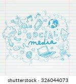 social media doodle set. hand... | Shutterstock .eps vector #326044073