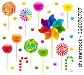 lollypop big set with pinwheel... | Shutterstock .eps vector #326076707