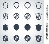 vector black shield icon set.    Shutterstock .eps vector #326086217