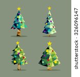 Set Of Christmas Pine Trees In...