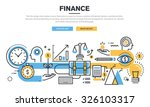 Flat line design concept for finance, market analysis, financial planning, accounting, corporate financial strategy, financial management, investment, for website banner and landing page. | Shutterstock vector #326103317