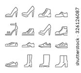 footwear icons  thin line style ...