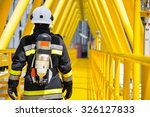 fire fighter on oil and gas... | Shutterstock . vector #326127833