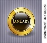 january golden emblem or badge | Shutterstock .eps vector #326130323