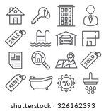 real estate line icons | Shutterstock .eps vector #326162393