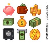 pixel money icons high detailed ... | Shutterstock .eps vector #326213537
