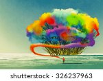 man draws abstract tree with... | Shutterstock . vector #326237963