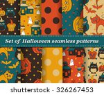 set of halloween seamless... | Shutterstock .eps vector #326267453