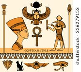 Egypt Colored Symbols Set With...