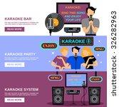 karaoke horizontal banner set...   Shutterstock .eps vector #326282963