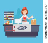 supermarket store counter desk... | Shutterstock .eps vector #326283647