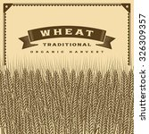 retro wheat harvest card brown. ... | Shutterstock .eps vector #326309357