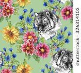 seamless pattern with tigers  ...   Shutterstock . vector #326314103